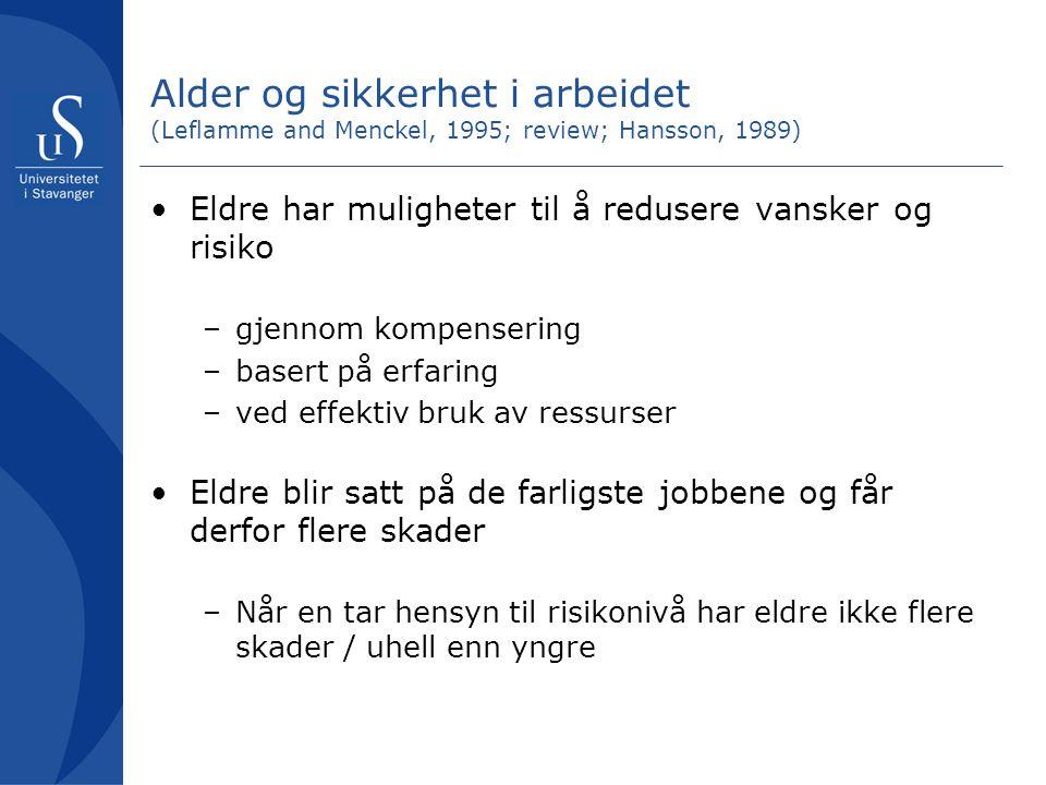 Alder og sikkerhet i arbeidet (Leflamme and Menckel, 1995; review; Hansson, 1989) Eldre har muligheter til å redusere vansker og risiko –gjennom kompe