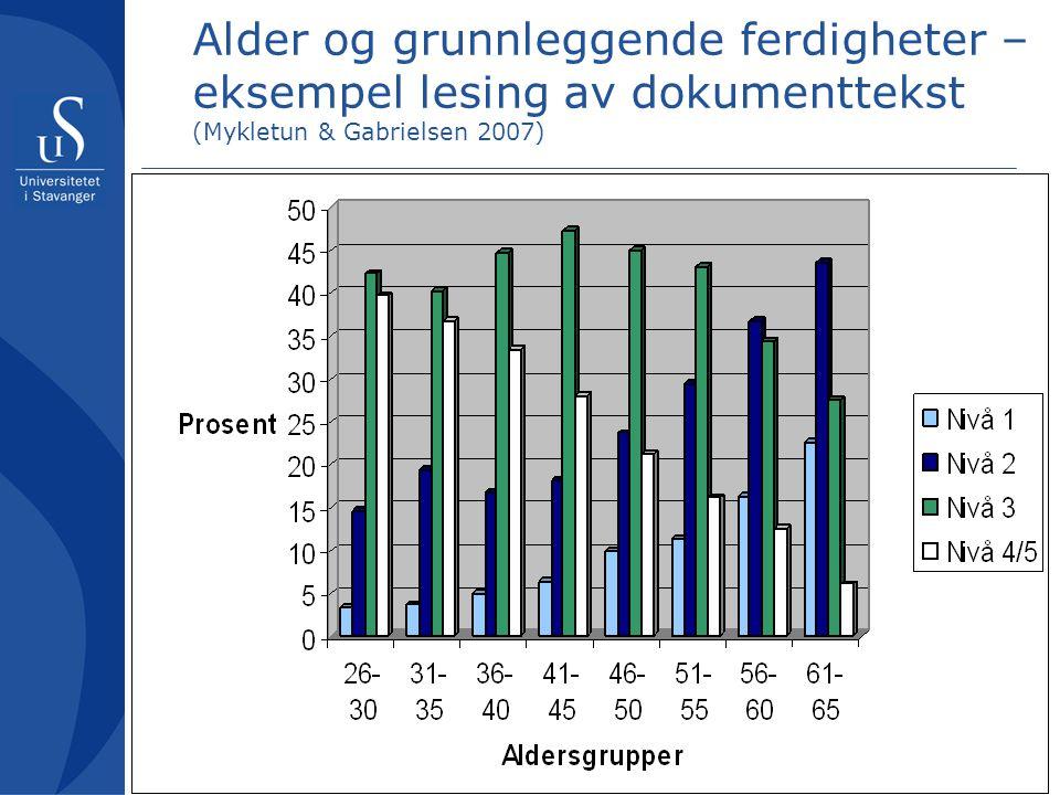 Alder og grunnleggende ferdigheter – eksempel lesing av dokumenttekst (Mykletun & Gabrielsen 2007)