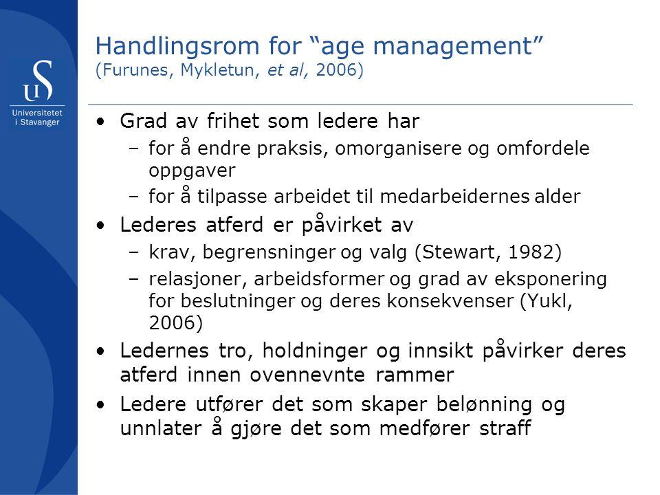 Handlingsrom for age management (Furunes, Mykletun, et al, 2006) Grad av frihet som ledere har –for å endre praksis, omorganisere og omfordele oppgaver –for å tilpasse arbeidet til medarbeidernes alder Lederes atferd er påvirket av –krav, begrensninger og valg (Stewart, 1982) –relasjoner, arbeidsformer og grad av eksponering for beslutninger og deres konsekvenser (Yukl, 2006) Ledernes tro, holdninger og innsikt påvirker deres atferd innen ovennevnte rammer Ledere utfører det som skaper belønning og unnlater å gjøre det som medfører straff
