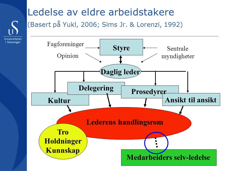 Ledelse av eldre arbeidstakere (Basert på Yukl, 2006; Sims Jr. & Lorenzi, 1992) Board Styre Daglig leder Kultur Delegering Prosedyrer Ansikt til ansik