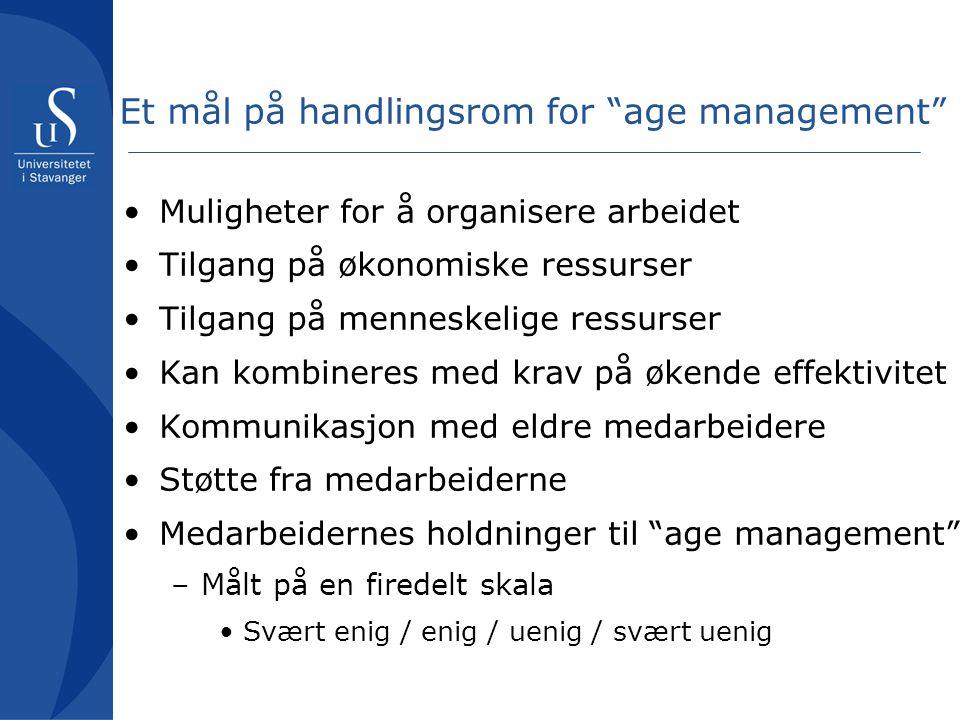 """Et mål på handlingsrom for """"age management"""" Muligheter for å organisere arbeidet Tilgang på økonomiske ressurser Tilgang på menneskelige ressurser Kan"""