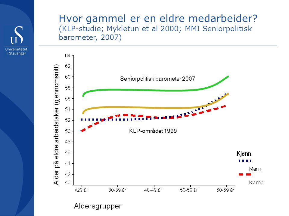 KLP-området 1999 Seniorpolitisk barometer 2007 Hvor gammel er en eldre medarbeider.