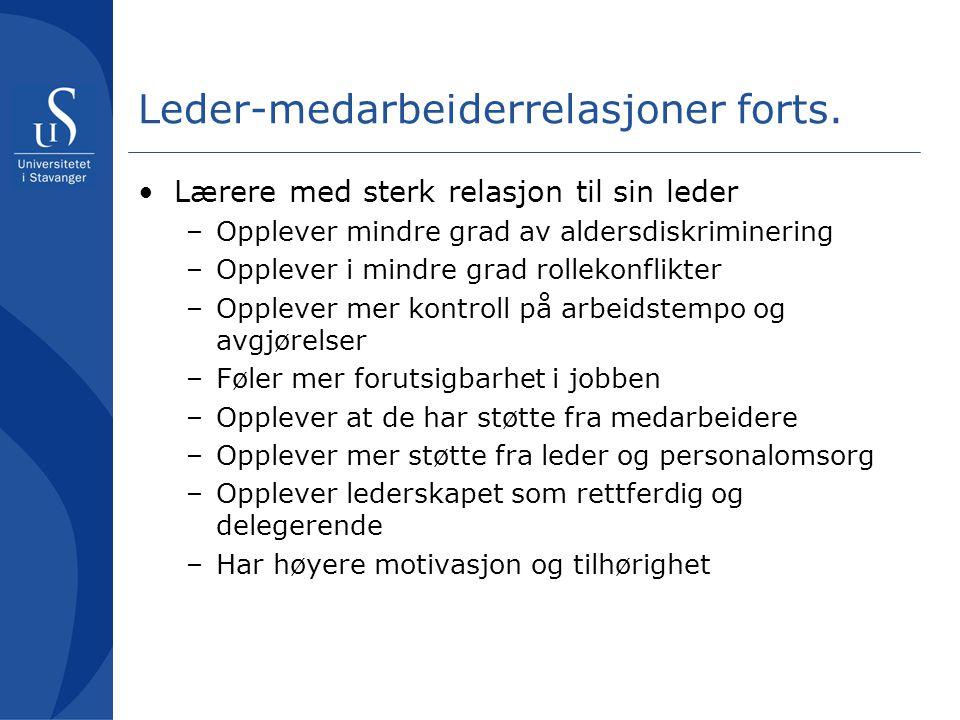 Leder-medarbeiderrelasjoner forts.