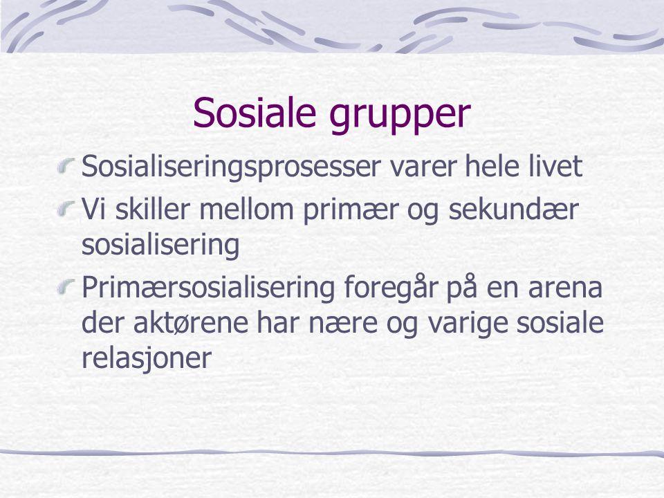 Sosiale grupper Sosialiseringsprosesser varer hele livet Vi skiller mellom primær og sekundær sosialisering Primærsosialisering foregår på en arena der aktørene har nære og varige sosiale relasjoner