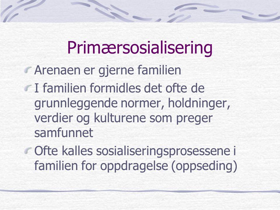 Primærsosialisering Arenaen er gjerne familien I familien formidles det ofte de grunnleggende normer, holdninger, verdier og kulturene som preger samfunnet Ofte kalles sosialiseringsprosessene i familien for oppdragelse (oppseding)