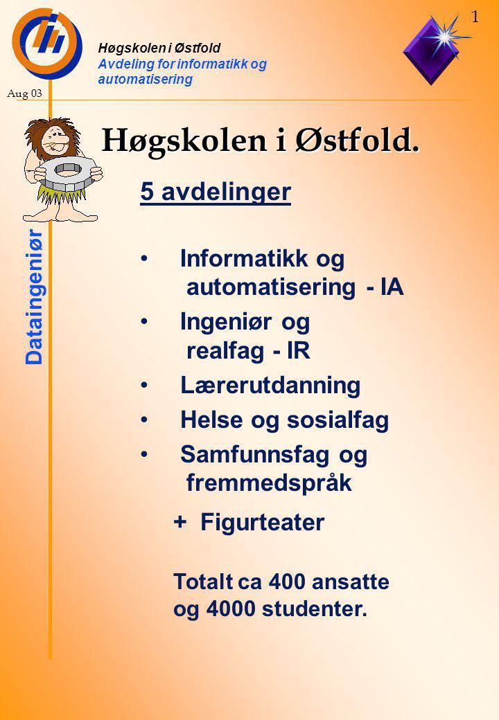 Høgskolen i Østfold Avdeling for informatikk og automatisering Dataingeniør 1 Aug 03 Høgskolen i Østfold.