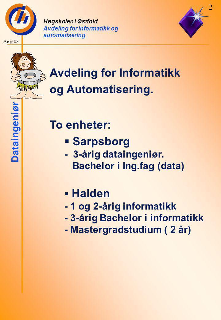 Høgskolen i Østfold Avdeling for informatikk og automatisering Dataingeniør 13 Aug 03 Programmering av PDA.