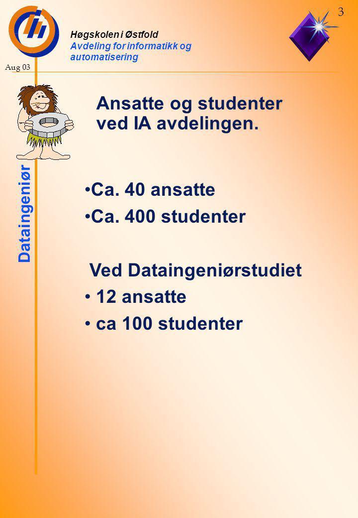 Høgskolen i Østfold Avdeling for informatikk og automatisering Dataingeniør 4 Aug 03 Ansatte som dere vil møte i dataingeniørstudiet.