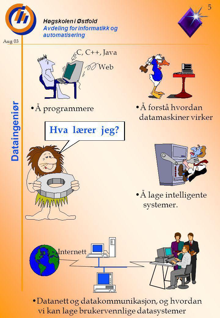 Høgskolen i Østfold Avdeling for informatikk og automatisering Dataingeniør 5 Aug 03 Å lage intelligente systemer.