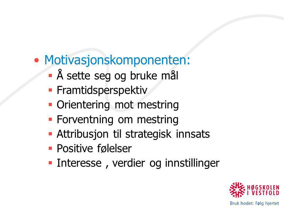Motivasjonskomponenten:  Å sette seg og bruke mål  Framtidsperspektiv  Orientering mot mestring  Forventning om mestring  Attribusjon til strateg