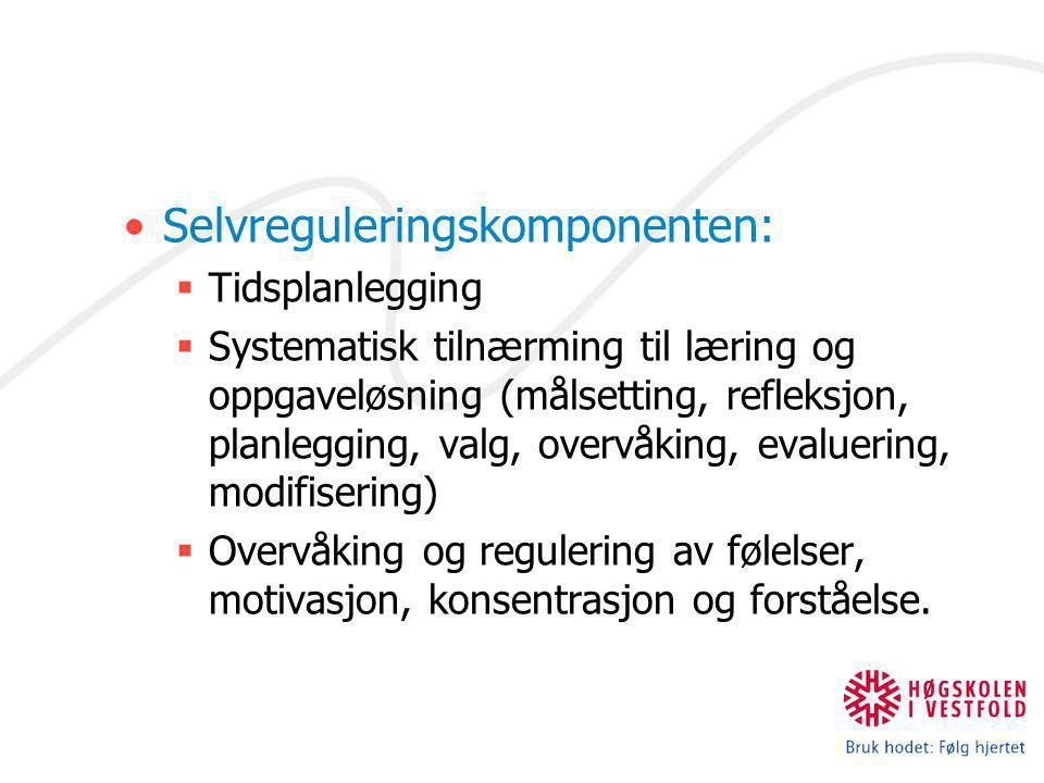 Selvreguleringskomponenten:  Tidsplanlegging  Systematisk tilnærming til læring og oppgaveløsning (målsetting, refleksjon, planlegging, valg, overvå