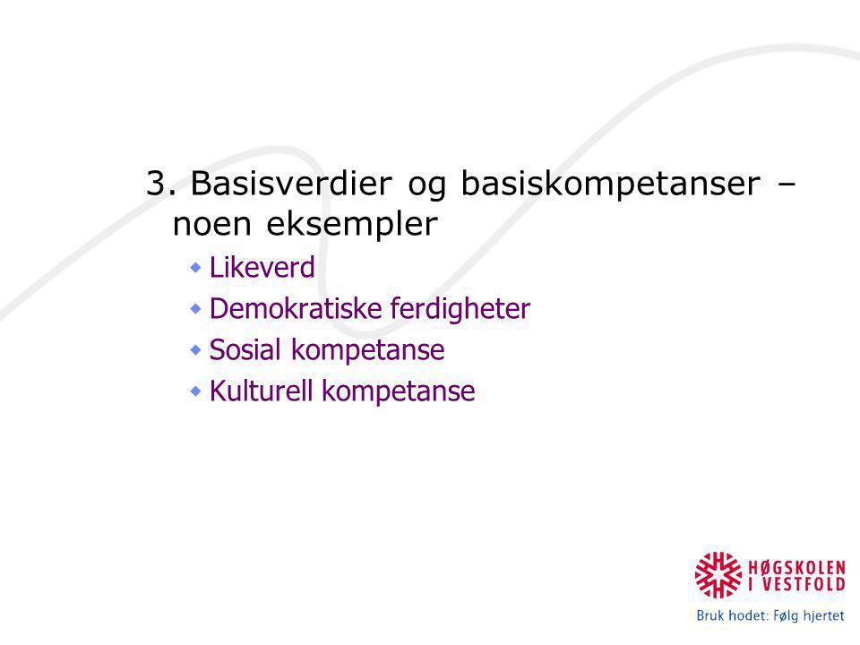 3. Basisverdier og basiskompetanser – noen eksempler  Likeverd  Demokratiske ferdigheter  Sosial kompetanse  Kulturell kompetanse