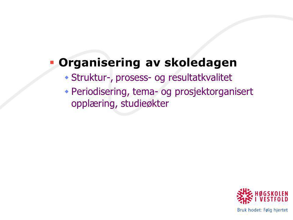  Organisering av skoledagen  Struktur-, prosess- og resultatkvalitet  Periodisering, tema- og prosjektorganisert opplæring, studieøkter