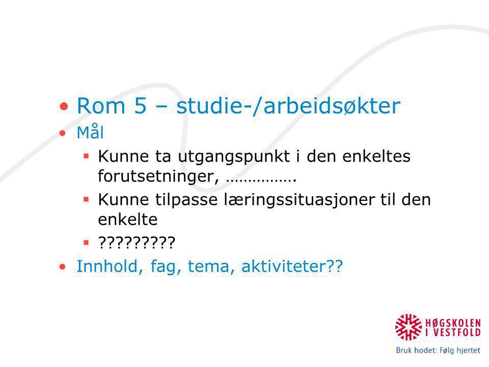 Rom 5 – studie-/arbeidsøkter Mål  Kunne ta utgangspunkt i den enkeltes forutsetninger, …………….  Kunne tilpasse læringssituasjoner til den enkelte  ?