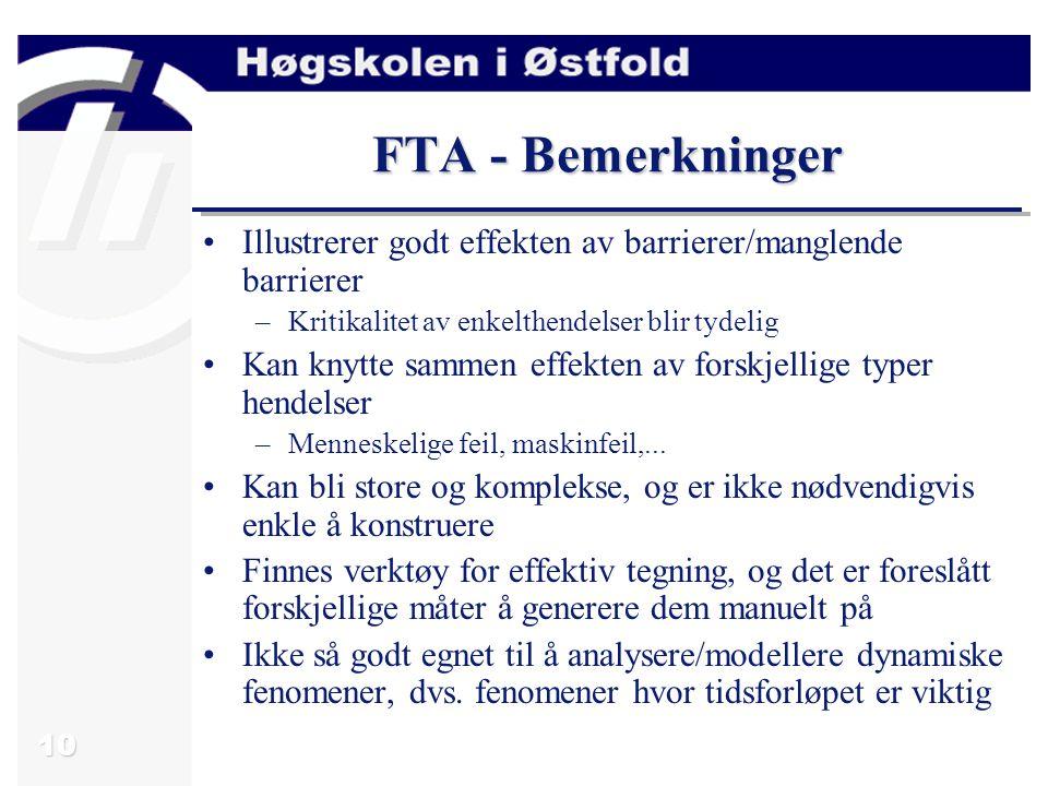 10 FTA - Bemerkninger Illustrerer godt effekten av barrierer/manglende barrierer –Kritikalitet av enkelthendelser blir tydelig Kan knytte sammen effekten av forskjellige typer hendelser –Menneskelige feil, maskinfeil,...