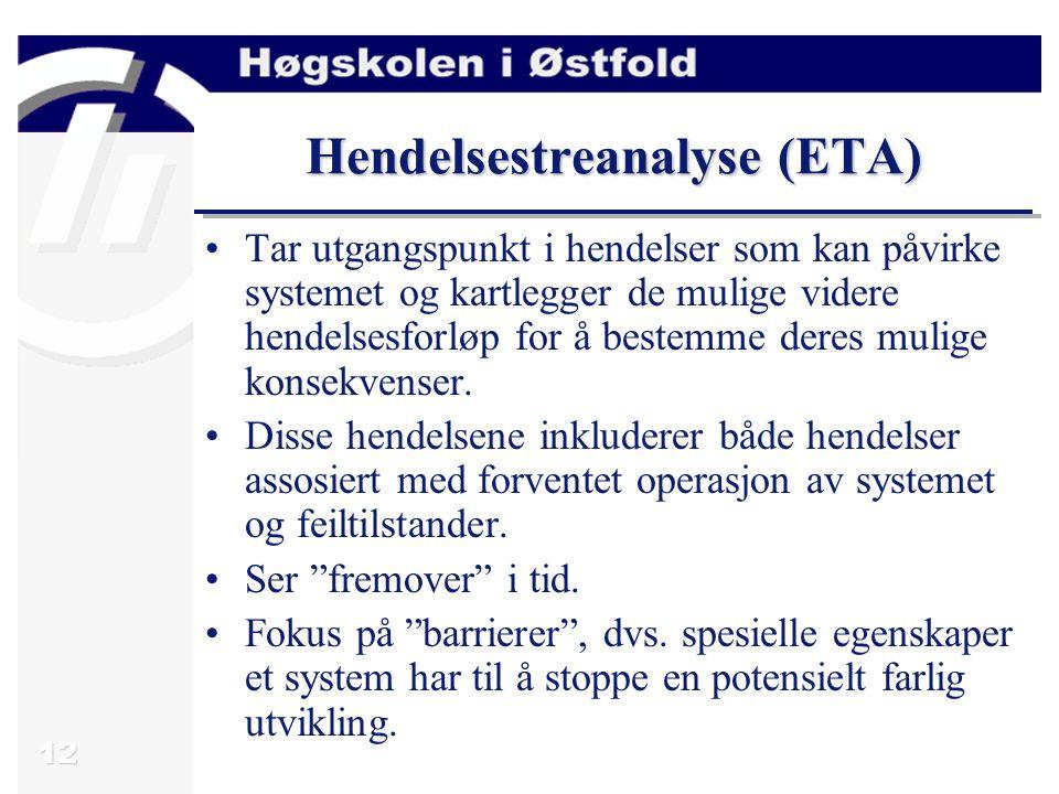 12 Hendelsestreanalyse (ETA) Tar utgangspunkt i hendelser som kan påvirke systemet og kartlegger de mulige videre hendelsesforløp for å bestemme deres mulige konsekvenser.