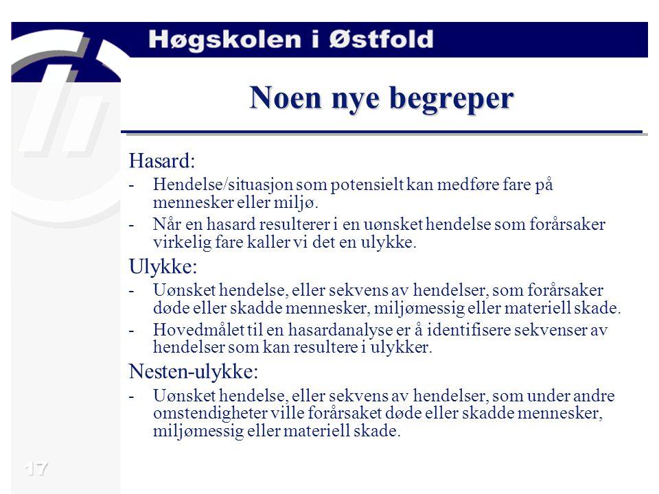 17 Noen nye begreper Hasard: -Hendelse/situasjon som potensielt kan medføre fare på mennesker eller miljø.