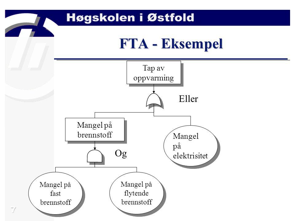 7 FTA - Eksempel Tap av oppvarming Mangel på brennstoff Mangel på fast brennstoff Mangel på flytende brennstoff Mangel på elektrisitet Eller Og