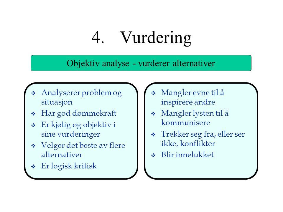 4.Vurdering Objektiv analyse - vurderer alternativer v Analyserer problem og situasjon v Har god dømmekraft v Er kjølig og objektiv i sine vurderinger