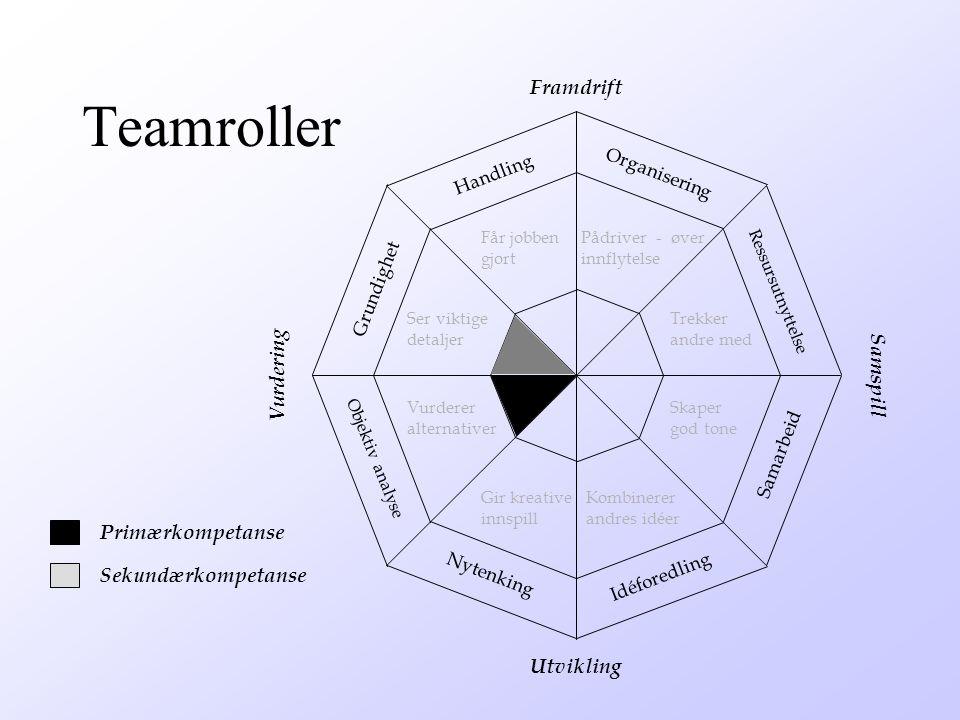 Hovedtyper av teamkompetanse v Framdrift – Handling – Organisering Samspill Ressursutnyttelse Samarbeid v Utvikling – Idéforedling – Nytenking v Vurdering – Objektiv analyse – Grundighet