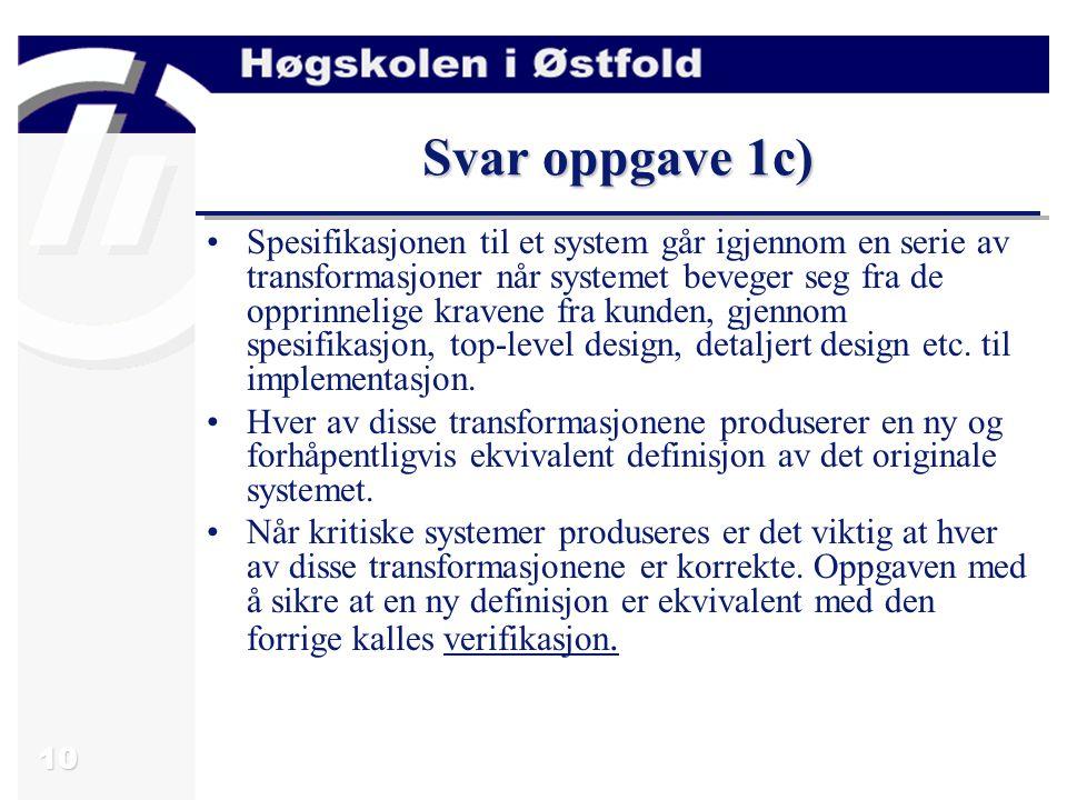 11 Oppgave 1d) -Verifikasjon og validering oppnås ved å utføre forskjellige tester av systemet.