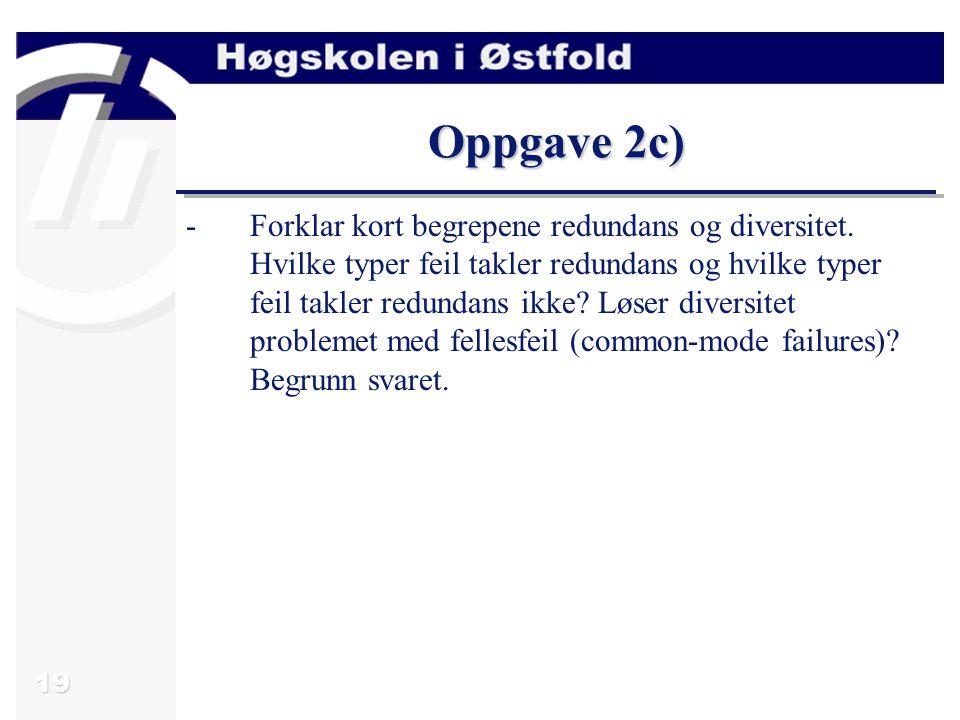 20 Svar oppgave 2c) All feiltoleranse er basert på en eller annen form for redundans.