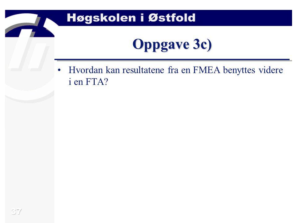 38 Svar oppgave 3c) Feiltrær benyttes ofte i assosiasjon med FMEA og HazOp fordi den grafiske naturen av feiltrær ofte forenkler fortolkningen av forskjellige avhengigheter.