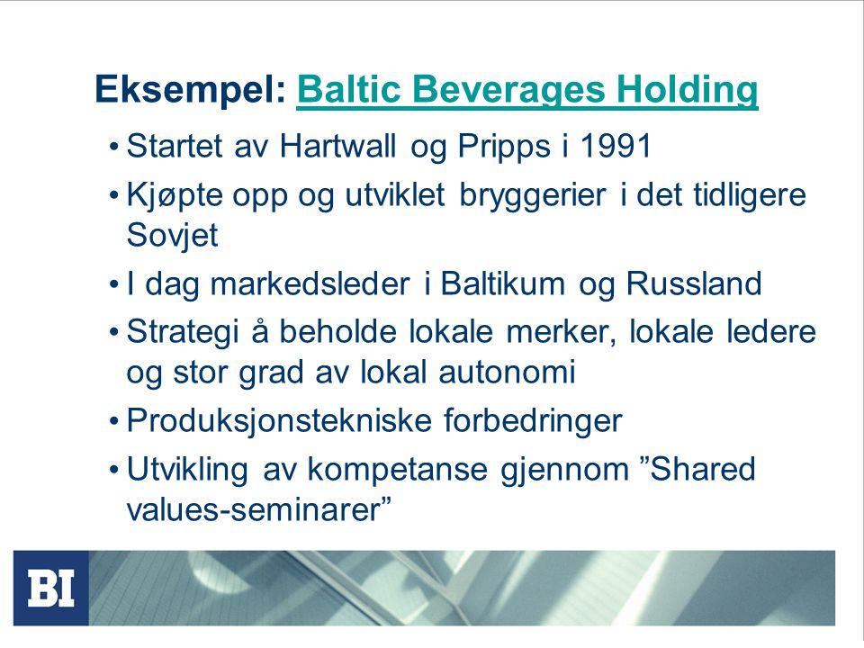Eksempel: Baltic Beverages HoldingBaltic Beverages Holding Startet av Hartwall og Pripps i 1991 Kjøpte opp og utviklet bryggerier i det tidligere Sovjet I dag markedsleder i Baltikum og Russland Strategi å beholde lokale merker, lokale ledere og stor grad av lokal autonomi Produksjonstekniske forbedringer Utvikling av kompetanse gjennom Shared values-seminarer