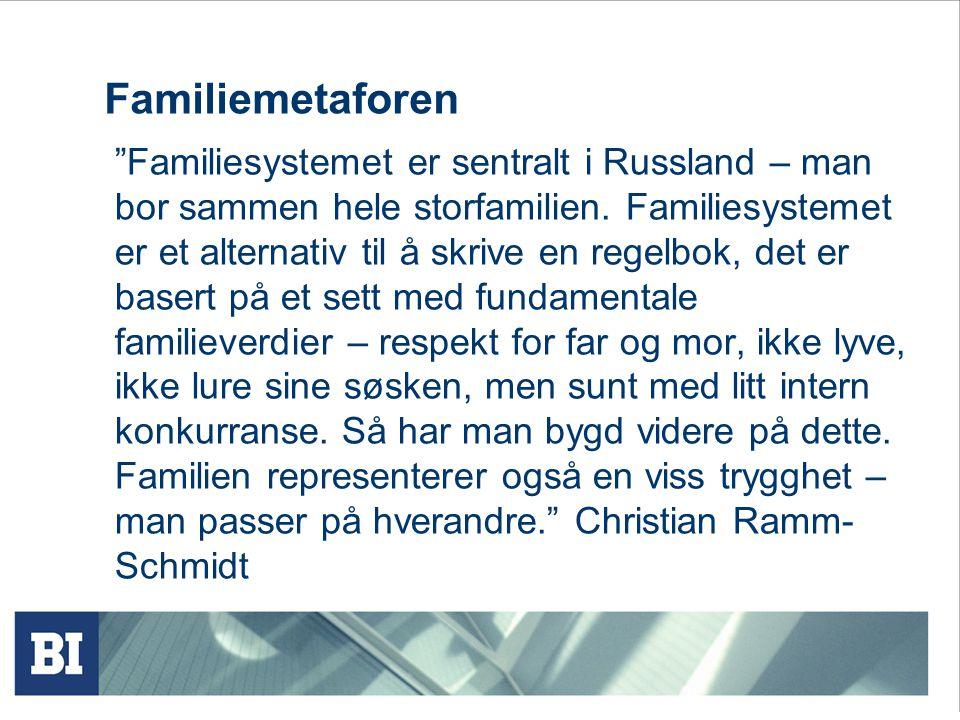 Familiemetaforen Familiesystemet er sentralt i Russland – man bor sammen hele storfamilien.