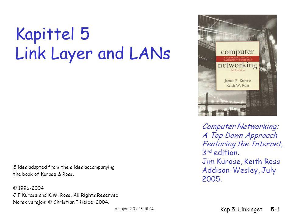 Versjon 2.3 / 28.10.04 Kap 5: Linklaget5-62 Manchester-koding r Brukes i 10BaseT og 10Base2 r Hvert bit har en transisjon (lav-til-høy el.