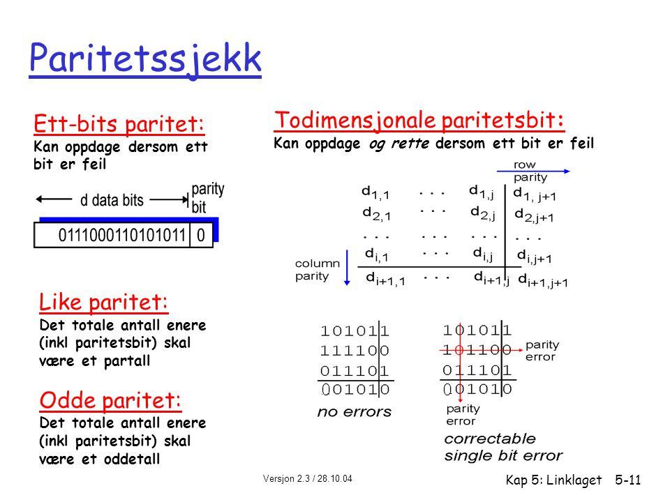 Versjon 2.3 / 28.10.04 Kap 5: Linklaget5-11 Paritetssjekk Ett-bits paritet: Kan oppdage dersom ett bit er feil Todimensjonale paritetsbit: Kan oppdage