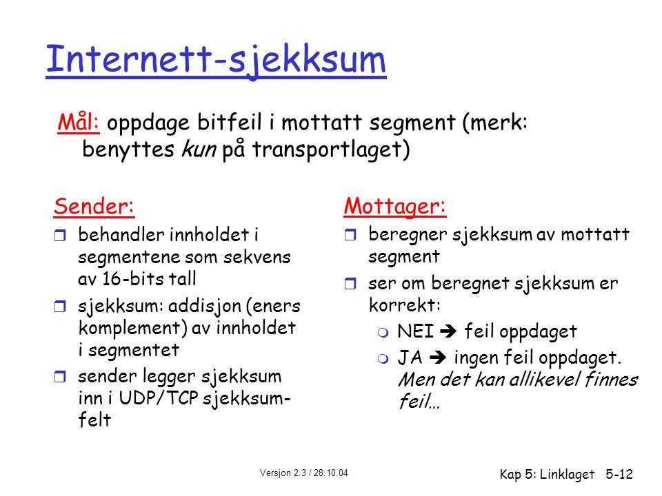Versjon 2.3 / 28.10.04 Kap 5: Linklaget5-12 Internett-sjekksum Sender: r behandler innholdet i segmentene som sekvens av 16-bits tall r sjekksum: addi