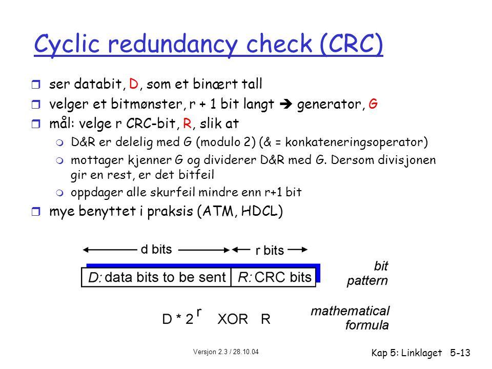 Versjon 2.3 / 28.10.04 Kap 5: Linklaget5-13 Cyclic redundancy check (CRC) r ser databit, D, som et binært tall r velger et bitmønster, r + 1 bit langt