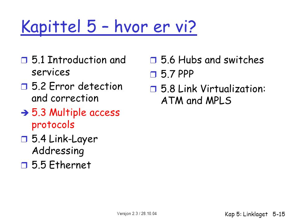 Versjon 2.3 / 28.10.04 Kap 5: Linklaget5-15 Kapittel 5 – hvor er vi? r 5.1 Introduction and services r 5.2 Error detection and correction è 5.3 Multip