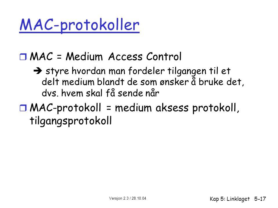 Versjon 2.3 / 28.10.04 Kap 5: Linklaget5-17 MAC-protokoller r MAC = Medium Access Control  styre hvordan man fordeler tilgangen til et delt medium bl