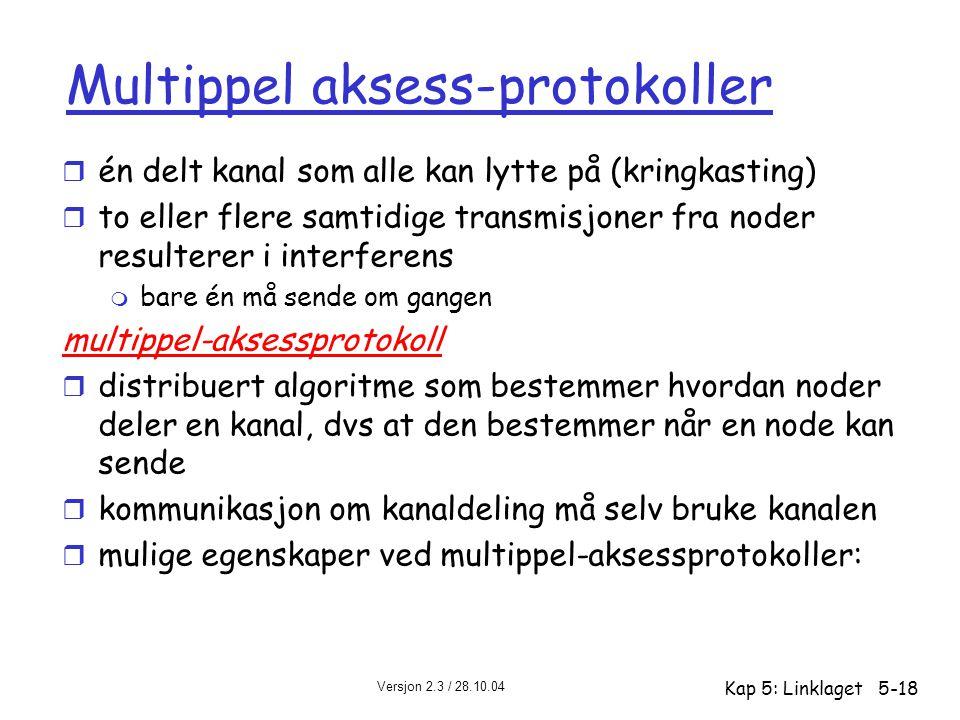 Versjon 2.3 / 28.10.04 Kap 5: Linklaget5-18 Multippel aksess-protokoller r én delt kanal som alle kan lytte på (kringkasting) r to eller flere samtidi