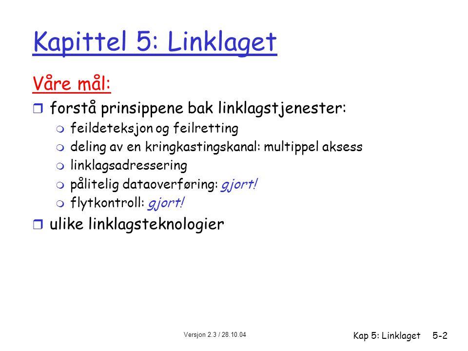 Versjon 2.3 / 28.10.04 Kap 5: Linklaget5-83 PPP dataramme r info: datafeltet – info som leveres til laget over (f eks et IP-datagram) r sjekk: CRC (cyclic redundancy check) for feildeteksjon