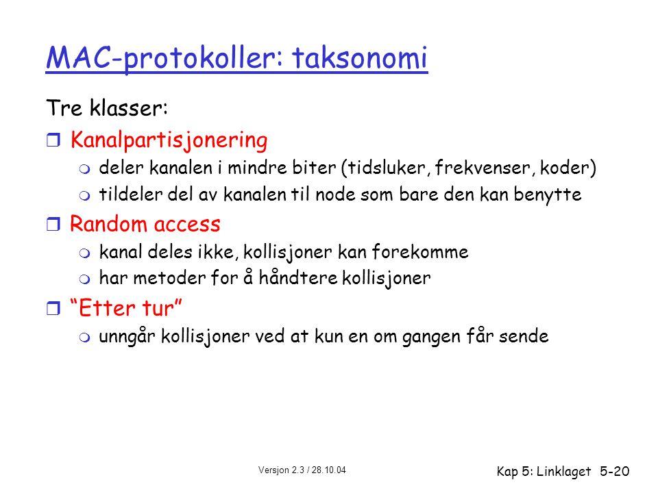 Versjon 2.3 / 28.10.04 Kap 5: Linklaget5-20 MAC-protokoller: taksonomi Tre klasser: r Kanalpartisjonering m deler kanalen i mindre biter (tidsluker, f
