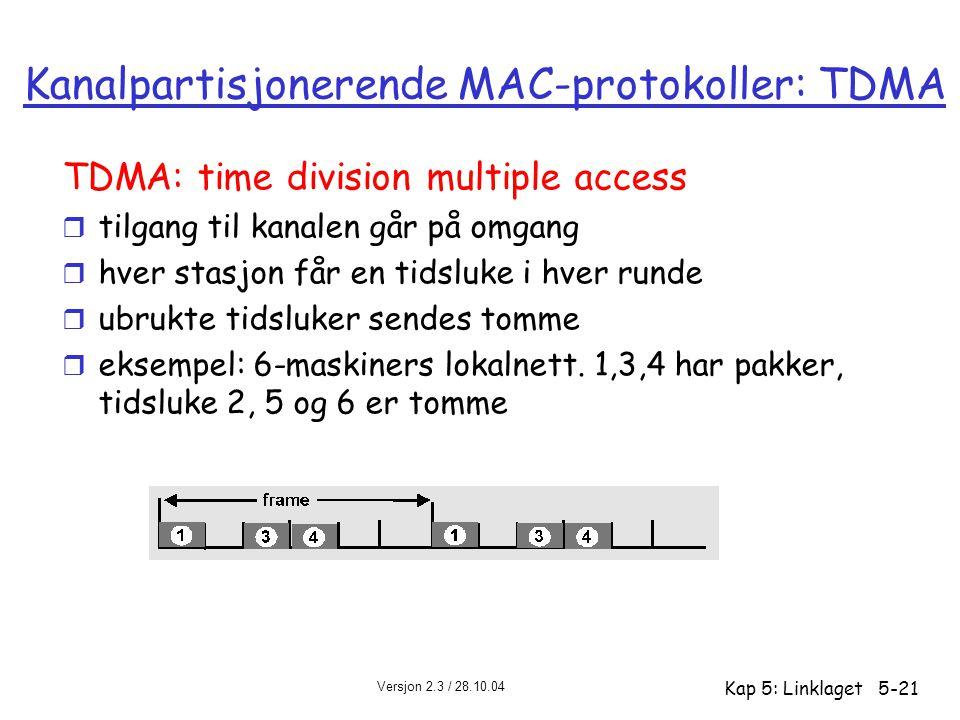 Versjon 2.3 / 28.10.04 Kap 5: Linklaget5-21 Kanalpartisjonerende MAC-protokoller: TDMA TDMA: time division multiple access r tilgang til kanalen går p