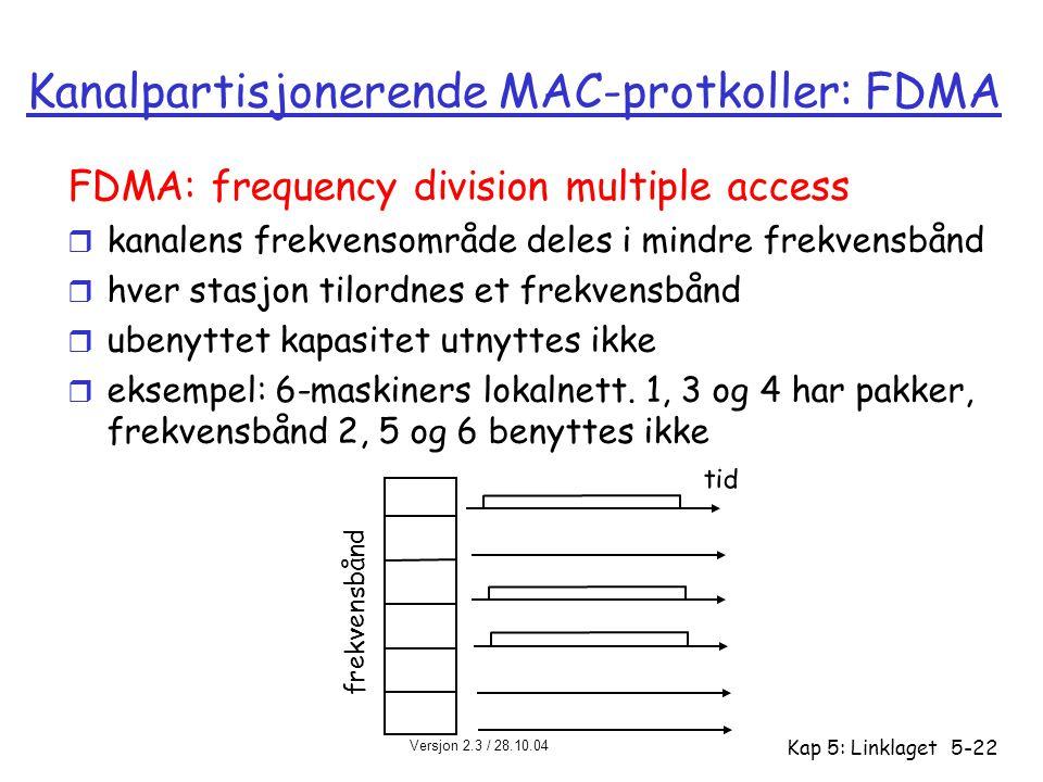 Versjon 2.3 / 28.10.04 Kap 5: Linklaget5-22 Kanalpartisjonerende MAC-protkoller: FDMA FDMA: frequency division multiple access r kanalens frekvensområ
