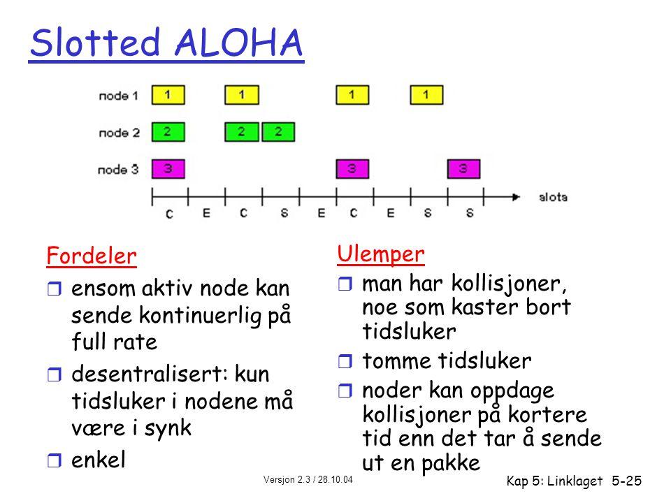 Versjon 2.3 / 28.10.04 Kap 5: Linklaget5-25 Slotted ALOHA Fordeler r ensom aktiv node kan sende kontinuerlig på full rate r desentralisert: kun tidslu