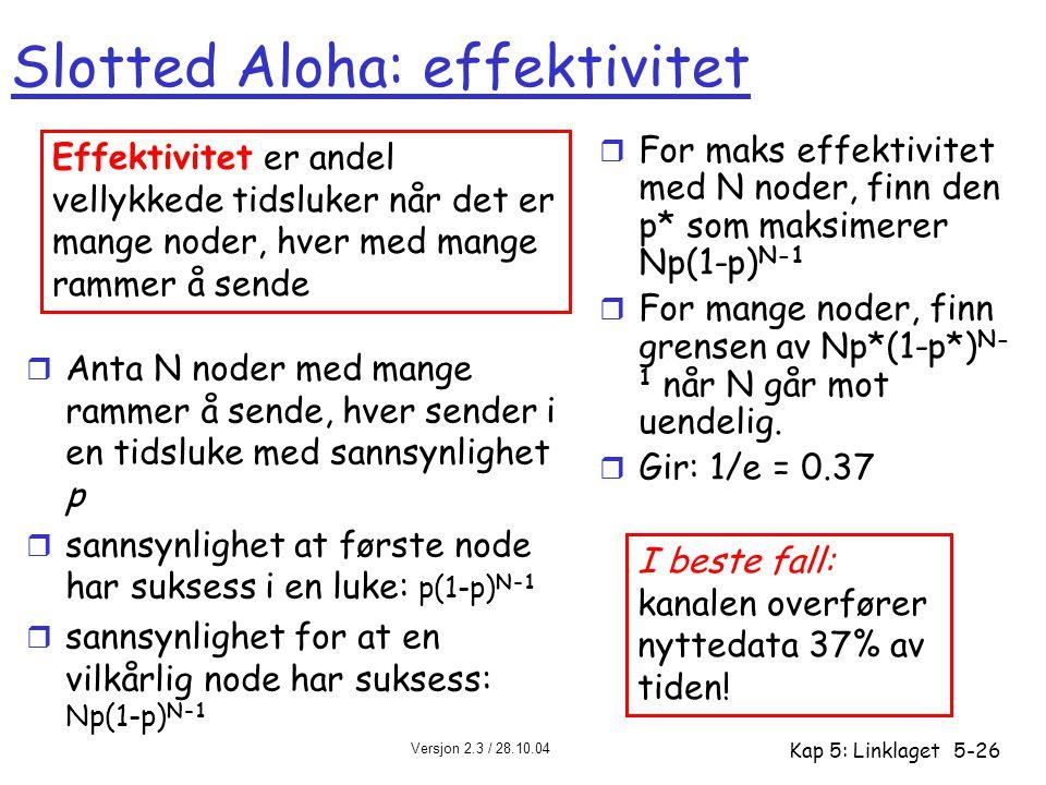Versjon 2.3 / 28.10.04 Kap 5: Linklaget5-26 Slotted Aloha: effektivitet r Anta N noder med mange rammer å sende, hver sender i en tidsluke med sannsyn