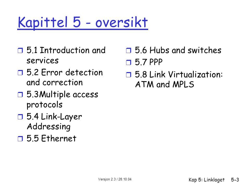 Versjon 2.3 / 28.10.04 Kap 5: Linklaget5-4 Linklaget: Introduksjon Litt terminologi: r maskiner, rutere og svitsjer er noder r kommunikasjonskanaler som forbinder nabonoder langs kommunikasjonsveien er linker m trådbundne (kablede) linker m trådløse linker m LAN r En 2-PDU kalles en ramme (frame), innkapsler datagrammer link linklaget har ansvar for å overføre datagrammer fra en node til en nabonode over en link
