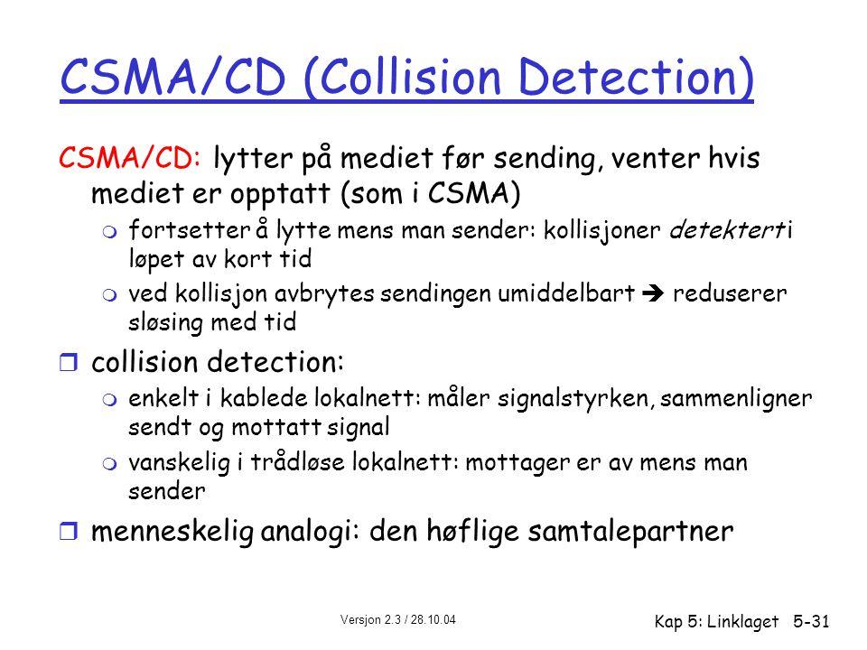 Versjon 2.3 / 28.10.04 Kap 5: Linklaget5-31 CSMA/CD (Collision Detection) CSMA/CD: lytter på mediet før sending, venter hvis mediet er opptatt (som i