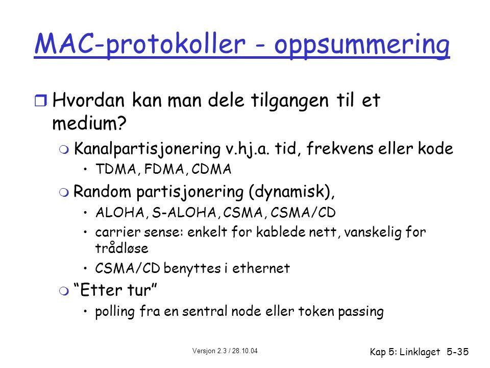 Versjon 2.3 / 28.10.04 Kap 5: Linklaget5-35 MAC-protokoller - oppsummering r Hvordan kan man dele tilgangen til et medium? m Kanalpartisjonering v.hj.