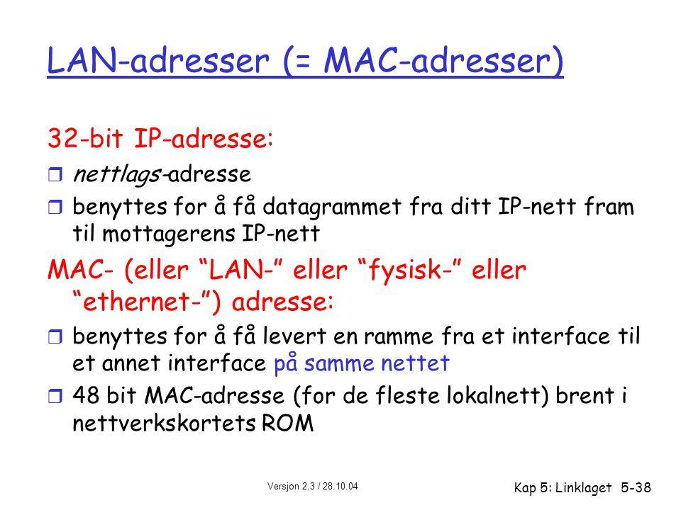 Versjon 2.3 / 28.10.04 Kap 5: Linklaget5-38 LAN-adresser (= MAC-adresser) 32-bit IP-adresse: r nettlags-adresse r benyttes for å få datagrammet fra di