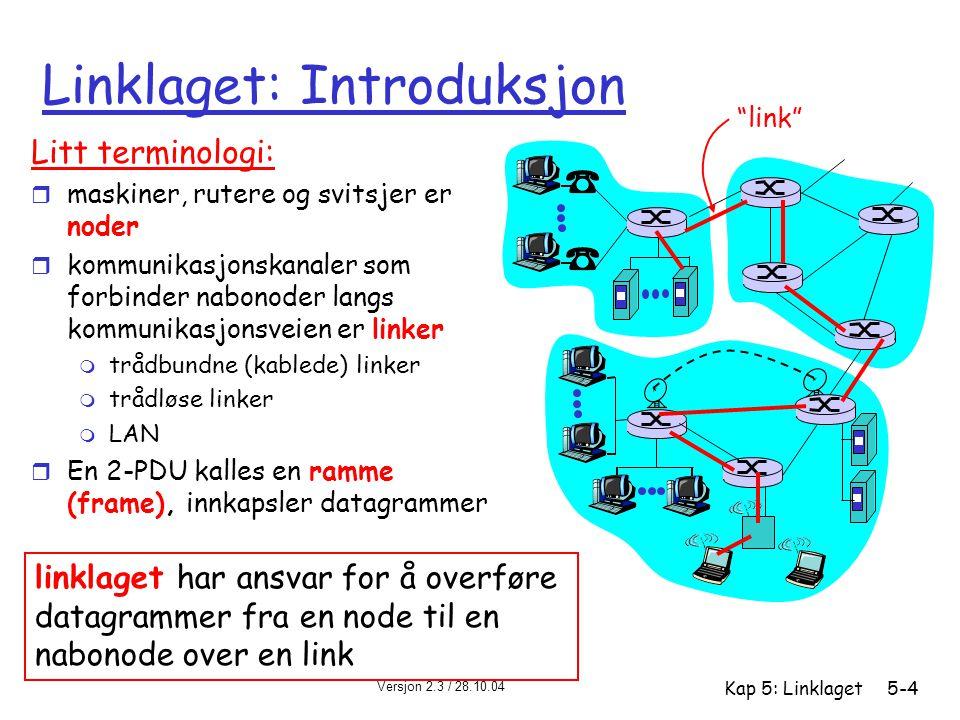 Versjon 2.3 / 28.10.04 Kap 5: Linklaget5-5 Linklaget: kontekst r Datagram overføres av ulike linkprotokoller over ulike linker: m f eks Ethernet på første link, frame relay på midtre link, 802.11 på siste link r Hver linklagsprotokoll tilbyr ulike tjenester m f eks: én protokoll kan være pålitelig, en annen upålitelig transportanalogi r tur fra Halden til Trondheim m tog: Halden til Gardermoen m fly: Gardermoen til Værnes m buss: Værnes til Trondheim r reisende = datagram r transportetappe = kommunikasjonslink r transporttype = linklagsprotokoll r reisebyrå = rutingalgoritme
