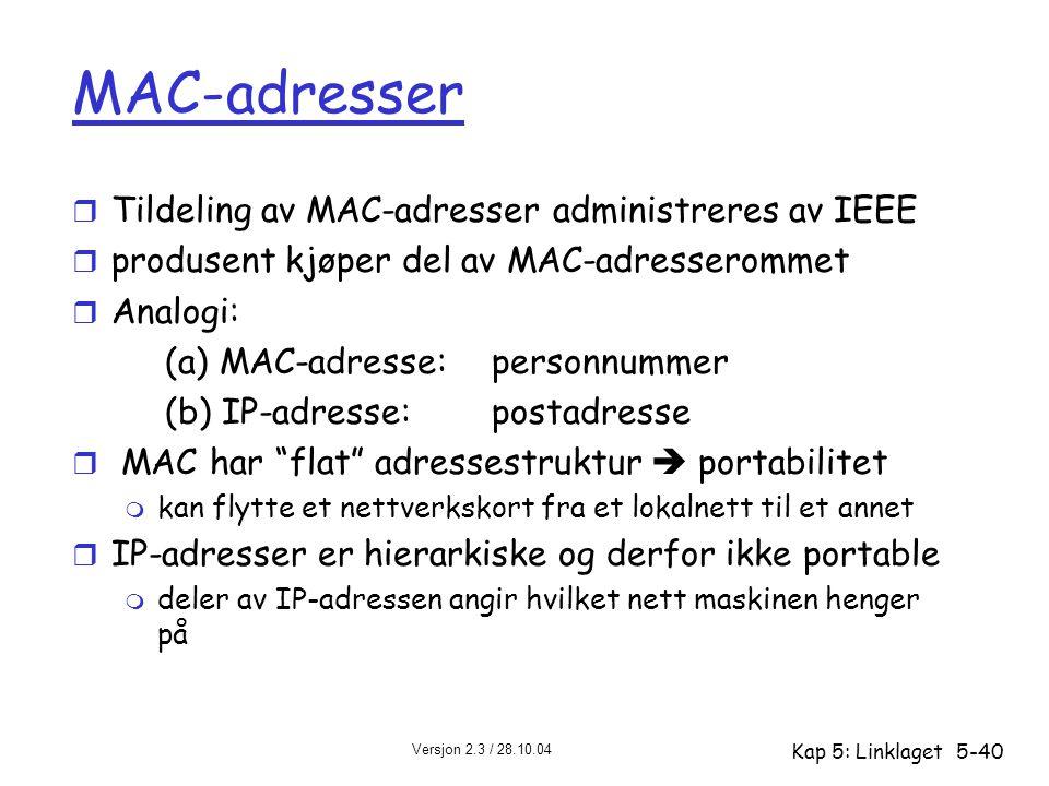 Versjon 2.3 / 28.10.04 Kap 5: Linklaget5-40 MAC-adresser r Tildeling av MAC-adresser administreres av IEEE r produsent kjøper del av MAC-adresserommet