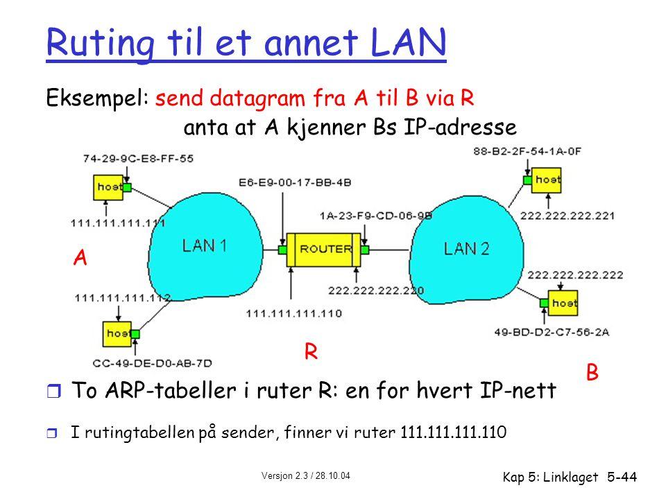 Versjon 2.3 / 28.10.04 Kap 5: Linklaget5-44 Ruting til et annet LAN Eksempel: send datagram fra A til B via R anta at A kjenner Bs IP-adresse r To ARP