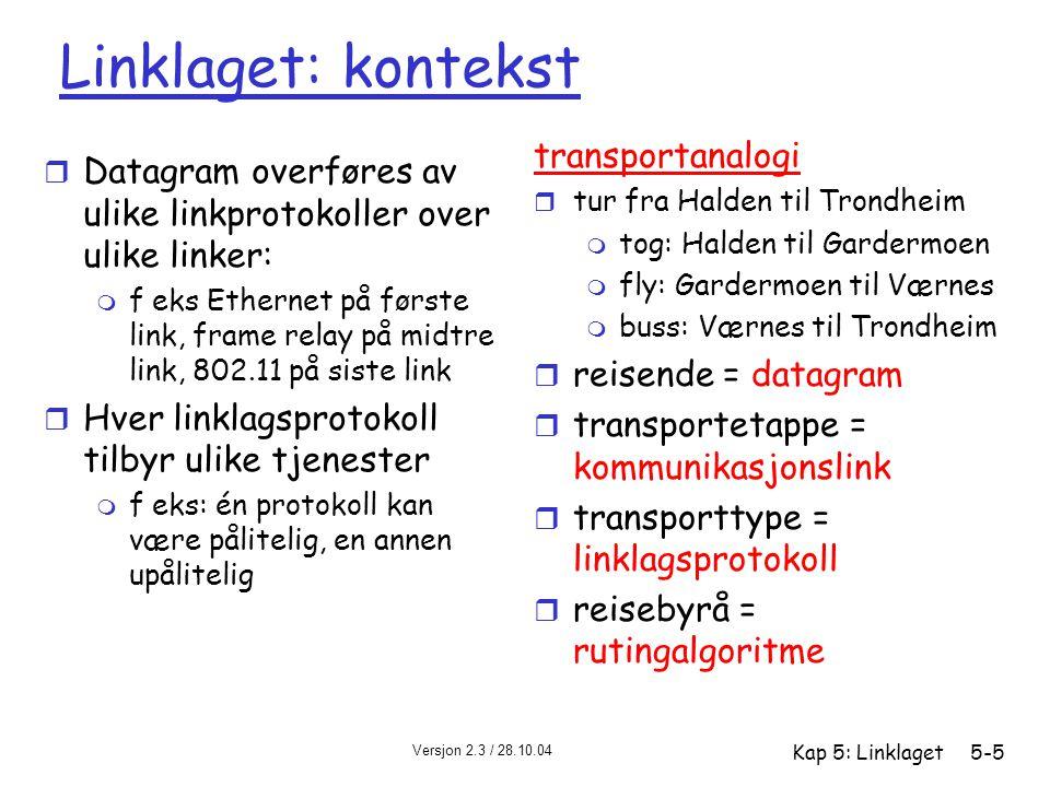 Versjon 2.3 / 28.10.04 Kap 5: Linklaget5-5 Linklaget: kontekst r Datagram overføres av ulike linkprotokoller over ulike linker: m f eks Ethernet på fø